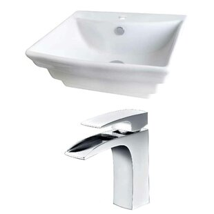 Coupon Above Counter Ceramic Rectangular Vessel Bathroom Sink with Faucet and Overflow By Royal Purple Bath Kitchen