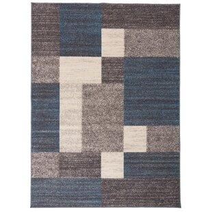 Eamon Boxes Design Non-Slip Blue/Brown Area Rug by Ebern Designs