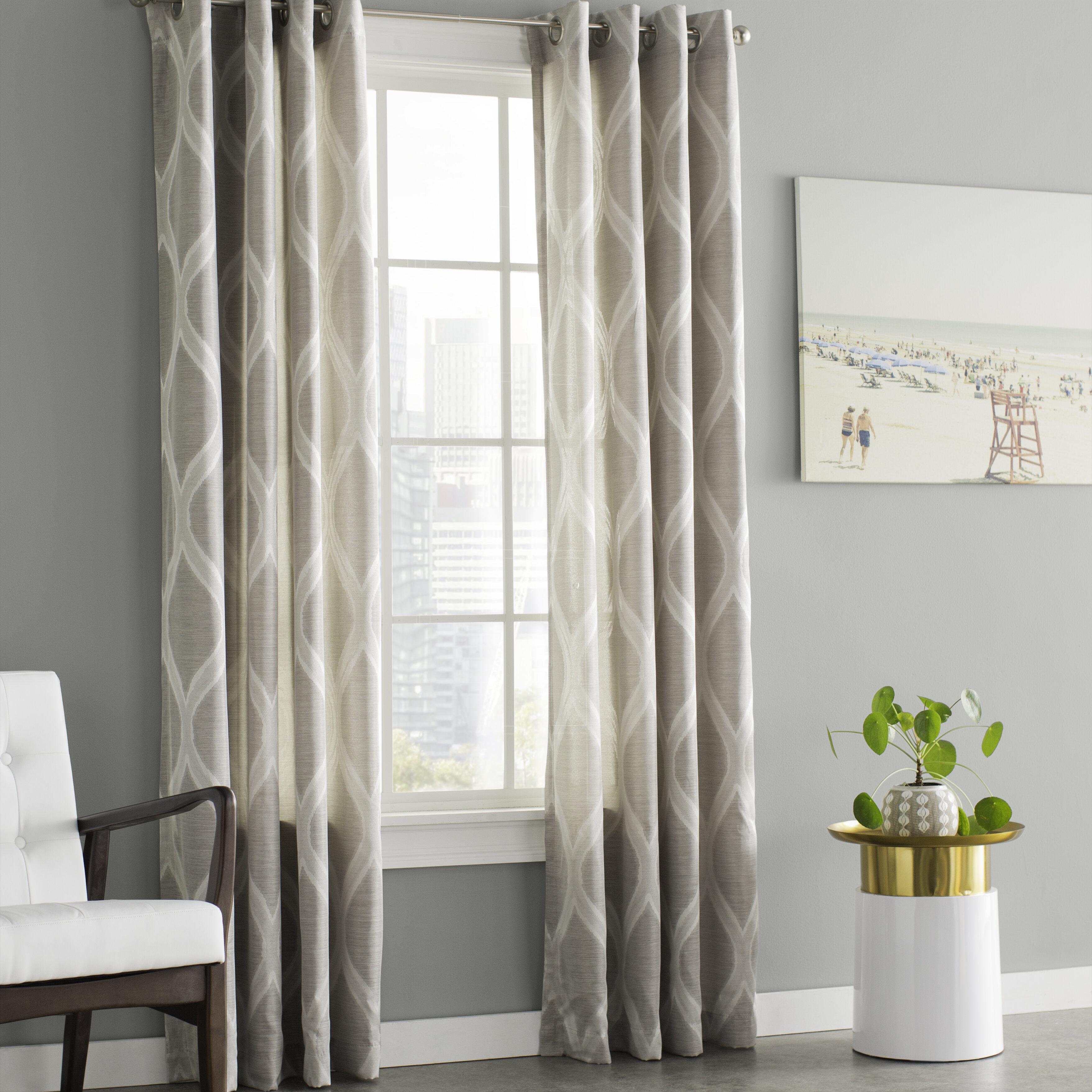 Wrought Studio Baronne Geometric Semi Sheer Grommet Curtain Panels Reviews Wayfair Ca