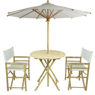 Petra Bamboo 3 Piece Bistro Set with Umbr..