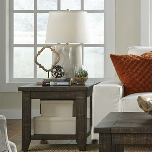 Oswalt Pine Wood End Table by Williston Forge