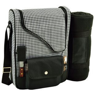 2 Can Houndstooth Bordeaux Wine and Cheese Picnic Cooler