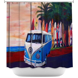 VW Bus Surfing 2 Single Shower Curtain