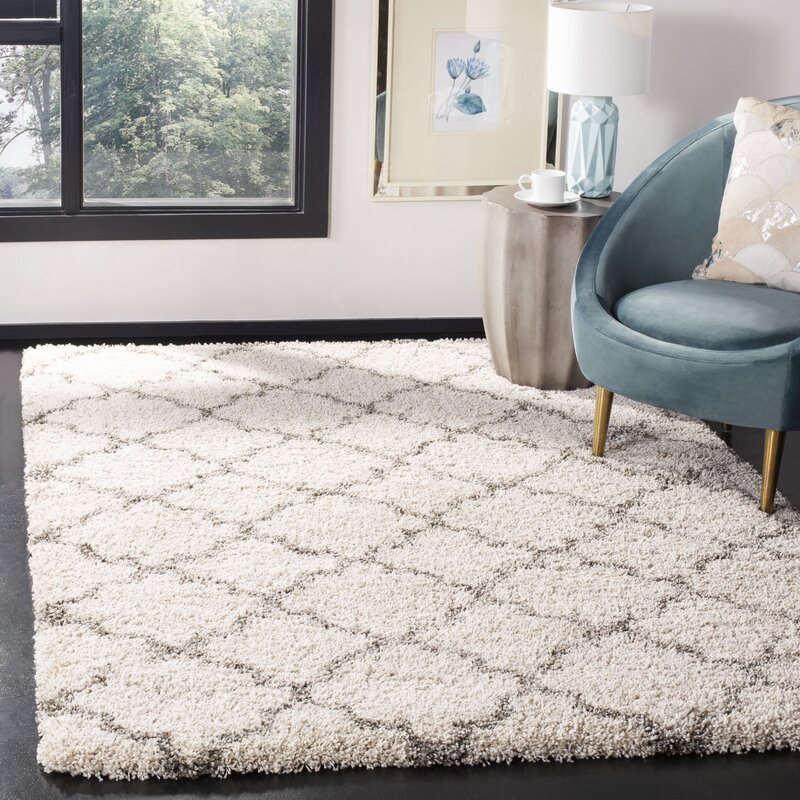 Laurel Foundry Modern Farmhouse Samira Shag Ivory Gray Area Rug
