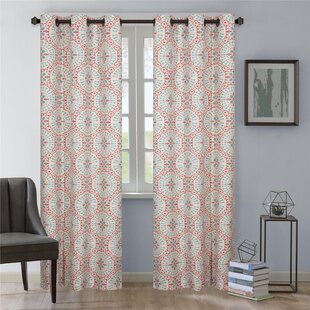Aldrich Geometric Semi-Sheer Grommet Curtain Panels (Set of 2) by Nanshing America, Inc