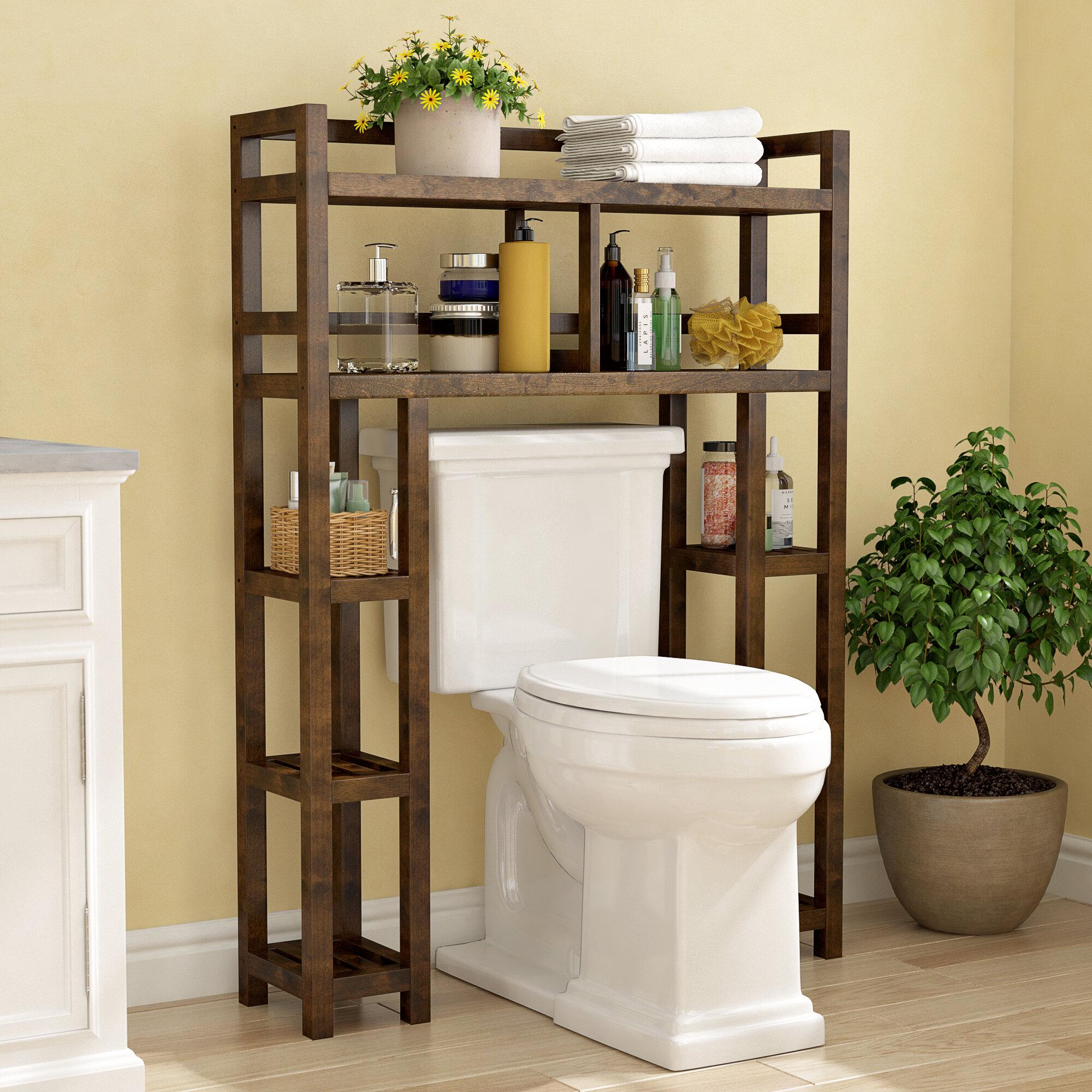 Three Posts Bernardston 34 5 W X 48 H X 9 D Solid Wood Free Standing Over The Toilet Storage Reviews Wayfair