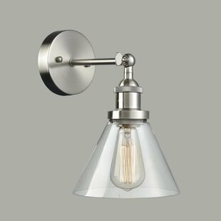 Inexpensive Wiggs Glass 1-Light Armed Sconce By Breakwater Bay
