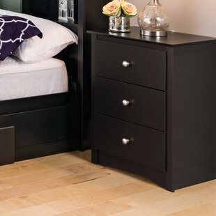 Wanda Tall Black 3 Drawer Nightstand