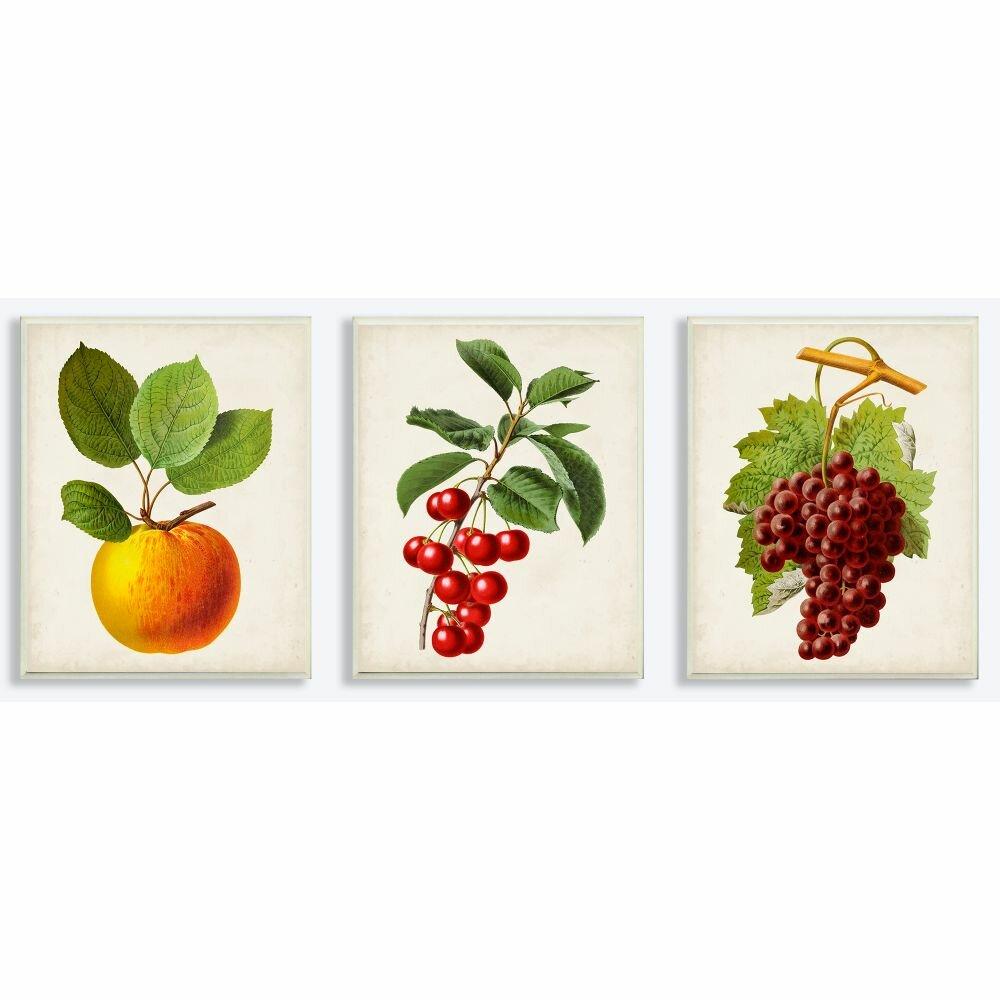 Gracie Oaks Vintage Fruits Food Kitchen Dining Room Painting Design 3 Piece Graphic Art Set On Canvas Wayfair