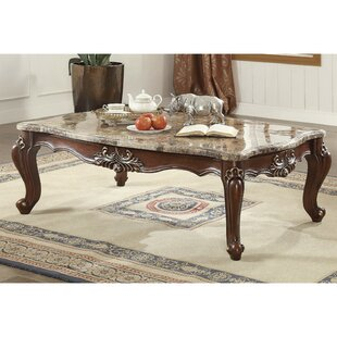 Astoria Grand Tunstall Marble and Wood Coffee Table