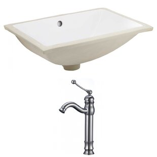 Compare prices Ceramic Rectangular Undermount Bathroom Sink with Faucet and Overflow By American Imaginations