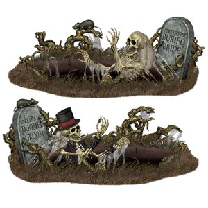 2 Piece Halloween Doomed Groom and Buried Bride Prop Set