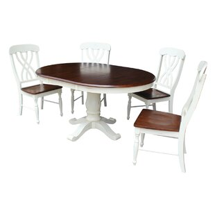 Eamon 5 Piece Extendable Solid Wood Dining Set