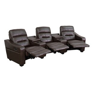 Latitude Run Dash 3 Seat Reclining Leather Home Theater Sofa