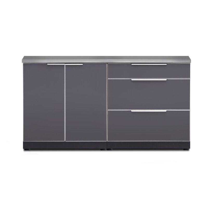Newage Products 64 3 Piece Modular Outdoor Kitchen Cabinets Wayfair