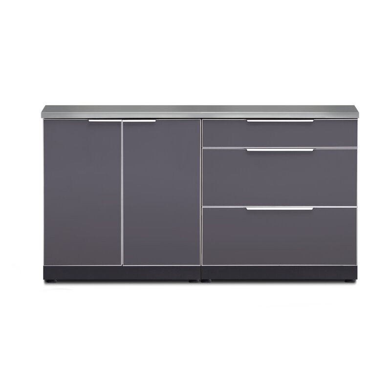 Newage Products Outdoor Kitchen 154 W X 24 D 3 Piece Modular Cabinet Set In Slate Gray Wayfair