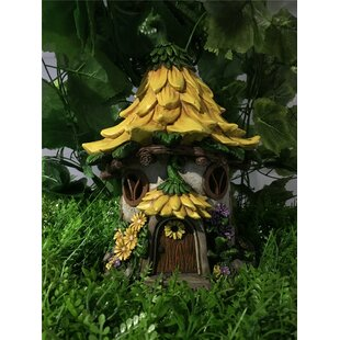 Fairy Garden House with Sunflower Roof - Solar LED Lights Statue by Hi-Line Gift Ltd.