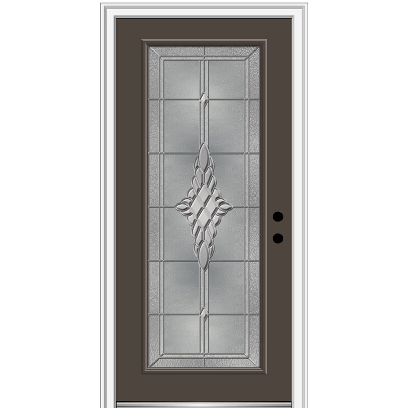 Verona Home Design Grace Painted Both Sides The Same Full Lite Fiberglass Prehung Front Entry Door On 6 9 16 Frame Wayfair