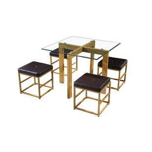 Abhiram Cube Dining Set With 4 Chairs By World Menagerie