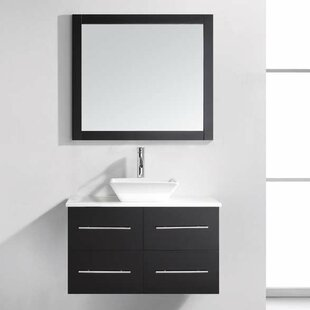 Carnforth 35 Single Bathroom Vanity Set with White Stone Top and Mirror By Wade Logan