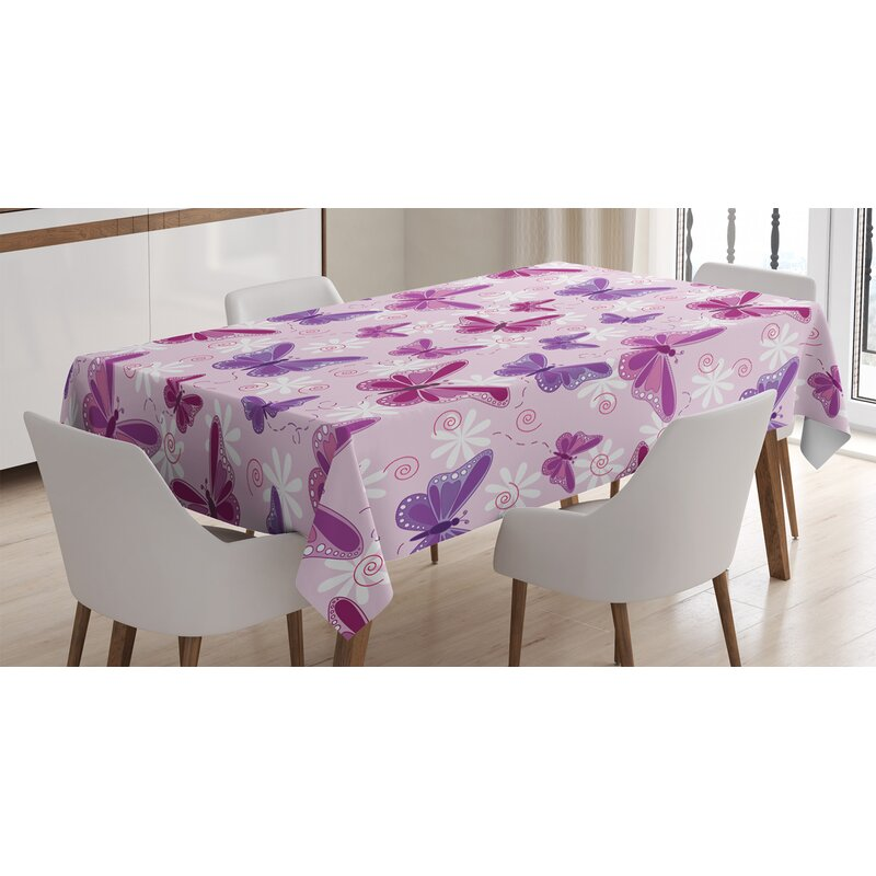 Pink Printed Tablecloth square rectangle with pretty Flowers and Butterflies.