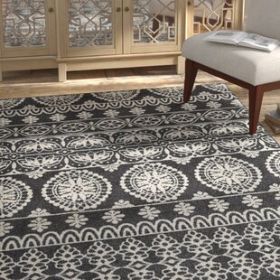 Read Reviews Grasser Black/White Area Rug By Bungalow Rose
