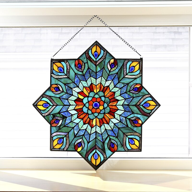 River Of Goods Peacock Star Tiffany Style Stained Glass Window