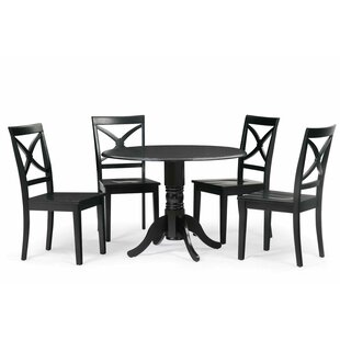 Reiff 5 Piece Drop Leaf Solid Wood Dining Set