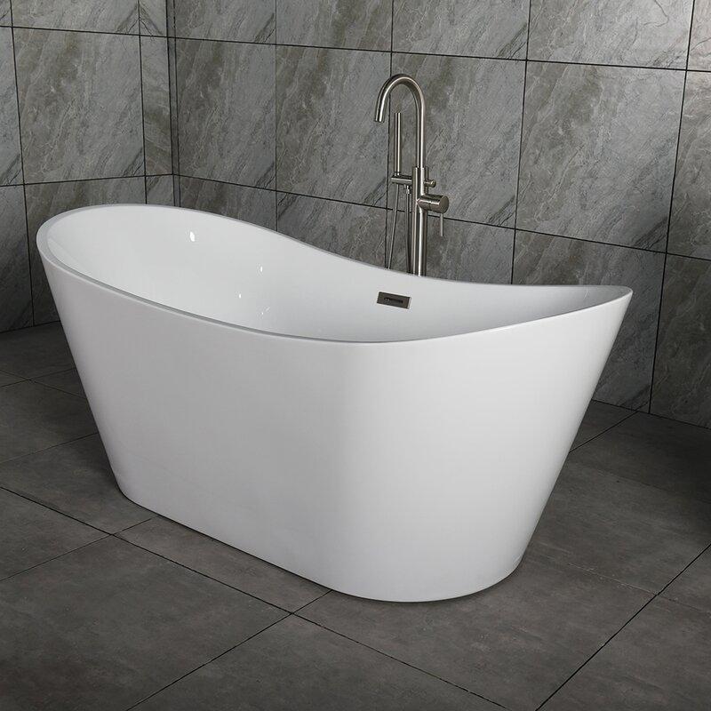 "orren ellis salmon 59"" x 29"" freestanding bath therapy bathtub"