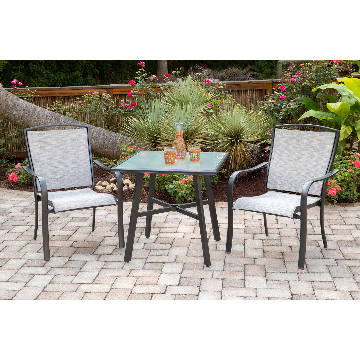 Charlton Home Wrenn 3 Piece Commercial Grade Bistro Set With 2 Sling Dining Chairs And A 30 Square Glass Top Table