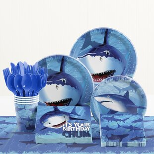 81 Piece Shark Splash Birthday Paper/Plastic Tableware Set