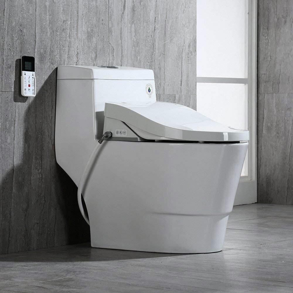 Remarkable Woodbridge Dual Flush Elongated One Piece Toilet With Bidet Customarchery Wood Chair Design Ideas Customarcherynet