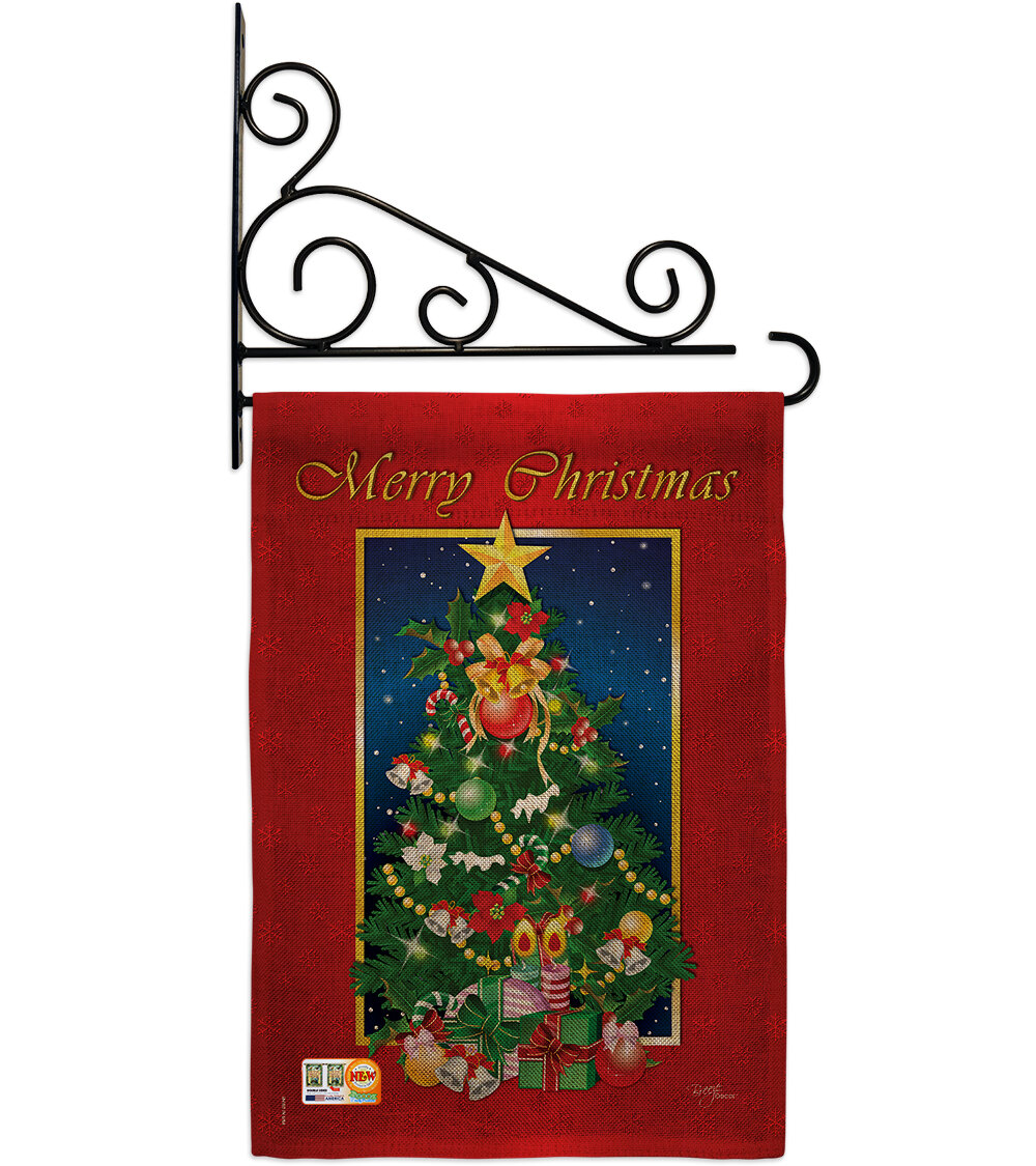 Breeze Decor Merry Christmas Tree 2 Sided Burlap 19 X 13 In Garden Flag Wayfair