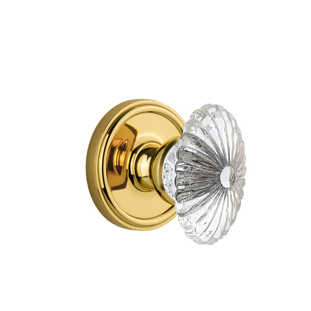 Lifetime Brass Grandeur Georgetown Rosette with Parthenon Knob Double Dummy
