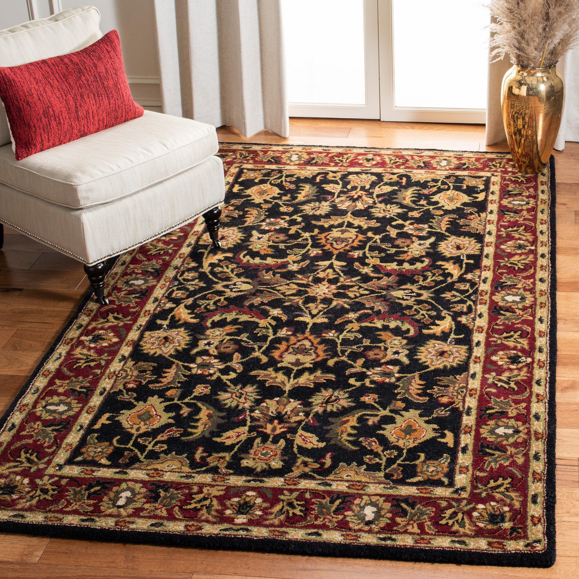 Charlton Home Cranmore Oriental Handmade Tufted Wool Black Red Area Rug Reviews Wayfair
