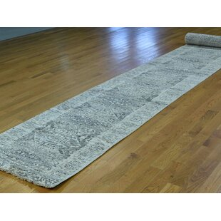 Affordable One-of-a-Kind Best Undyed Hand-Knotted Runner 2'9 x 17'10 Wool Gray/White Area Rug By Isabelline