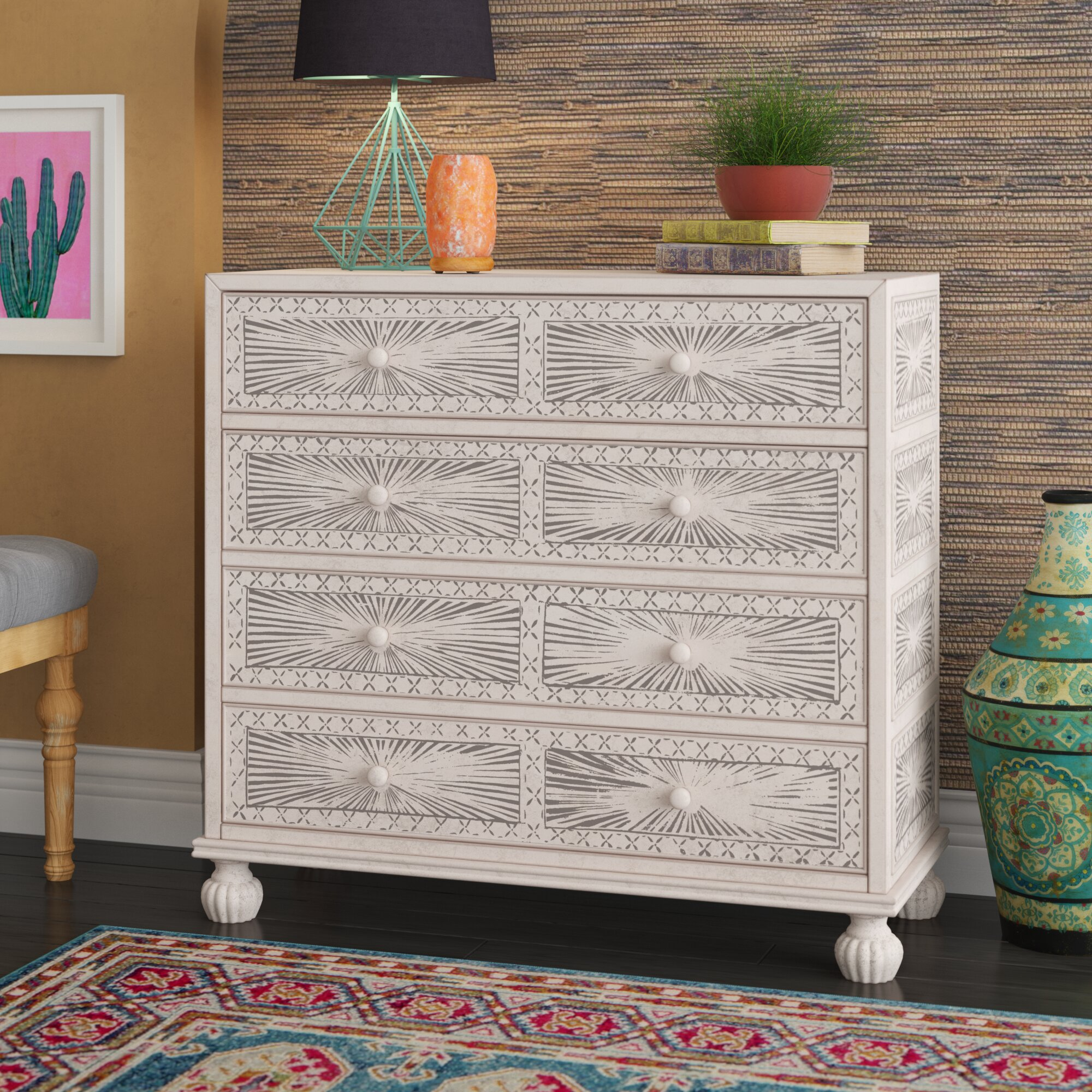 Mistana stevens traditional hand painted 4 drawer accent chest reviews wayfair