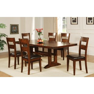 Nashoba 7 Piece Extendable Solid Wood Dining Set Loon Peak
