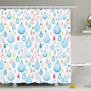Home Various Embellished Heavy Rain Drops Fluid Squall Graphic Art Shower Curtain Set