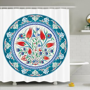 Floral Turkish Tulip Art Shower Curtain Set