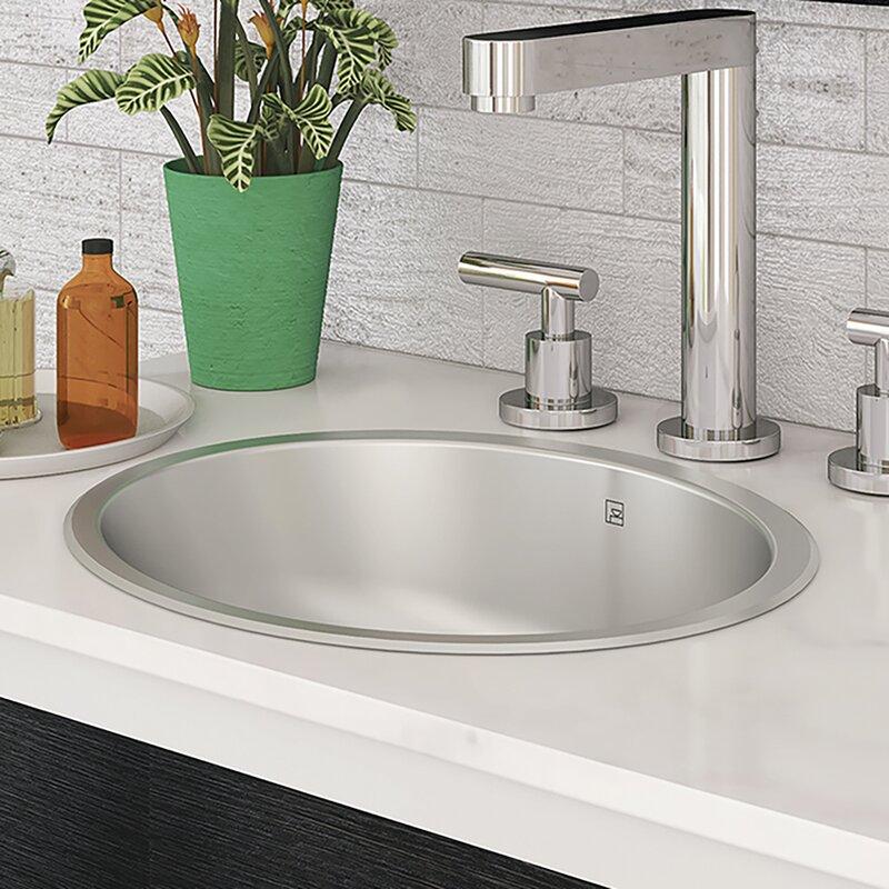 Decolav Taji Stainless Steel Metal Oval Undermount Bathroom Sink