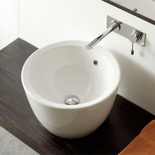 Compare prices Matty Ceramic Circular Vessel Bathroom Sink with Overflow ByScarabeo by Nameeks