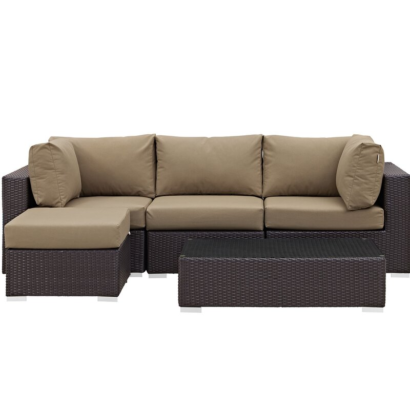 Sol 72 Outdoor  Brentwood 5 Piece Rattan Sectional Set with Cushions