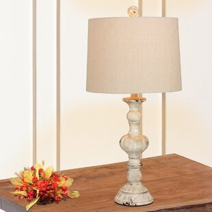 Roxann Rustic Sculpted Candlestick 27 Table Lamp (Set of 2)