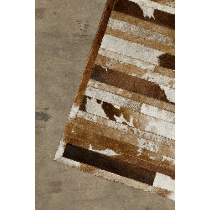 17 Stories Sathvik Handmade Cowhide Brown White Area Rug Wayfair