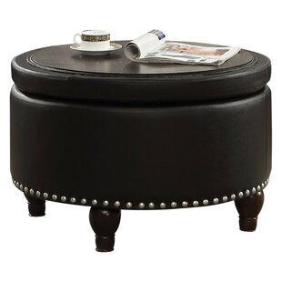 Egger Transitional Round Wood and Leatherette Cocktail Coffee Table with Storage