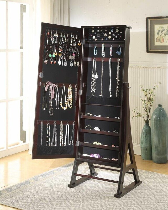 Alcott Hill Fleming Eiffel Free Standing Jewelry Armoire with Mirror