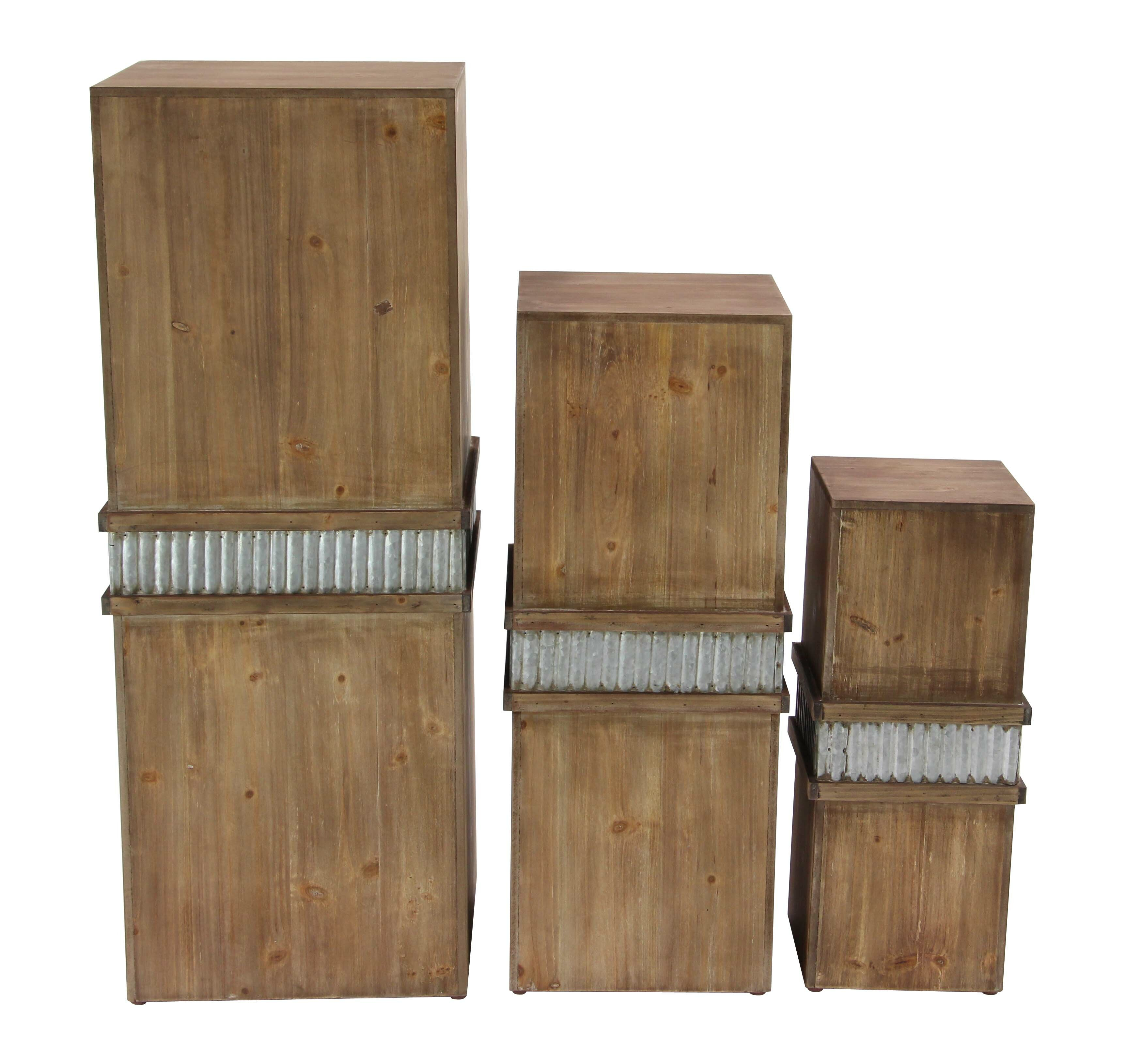Rustic plant stands tables youll love wayfair alpha 3 piece rustic wood and iron square pedestal plant stand set floridaeventfo Images