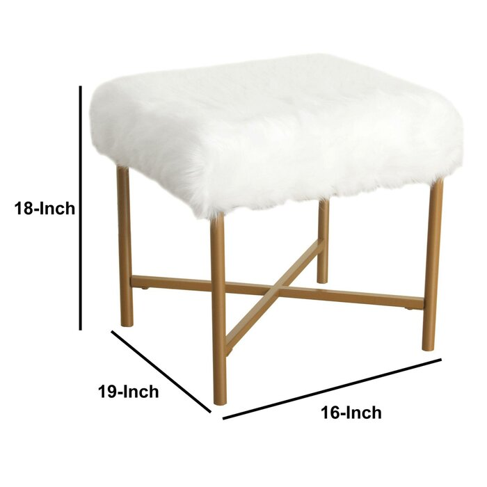 Outstanding Mader Square Faux Fur Upholstered Vanity Stool Theyellowbook Wood Chair Design Ideas Theyellowbookinfo