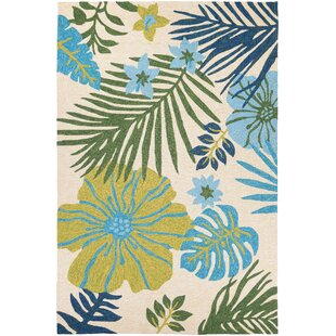 Wildermuth Summer Laelia Hand-Woven Ivory/Fern Indoor/Outdoor Area Rug By Bay Isle Home